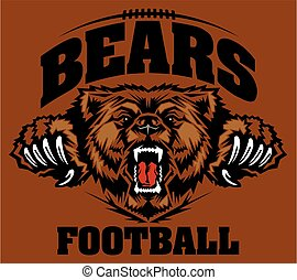 bears football team design with roaring mascot head for...
