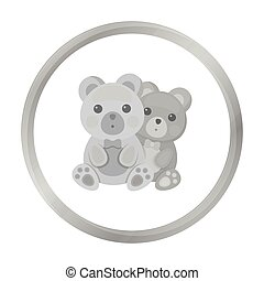 Bears icon in monochrome style isolated on white background. Romantic symbol stock vector illustration.