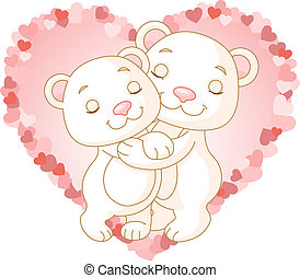 Bears in love - Two very cute polar bears in love