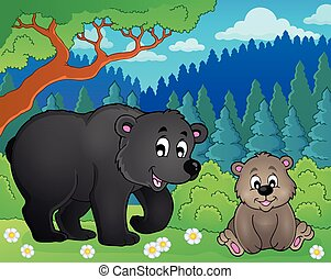 Bears in nature theme image 2 - eps10 vector illustration.