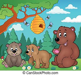 Bears in nature theme image 3 - eps10 vector illustration.