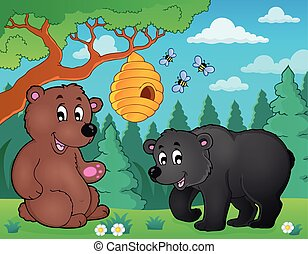 Bears in nature theme image 4 - eps10 vector illustration.