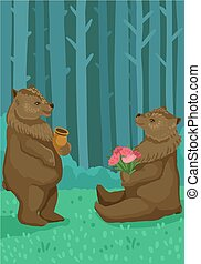 Bears in the forest, a bear eats honey, a bear holds flowers. Vector concept illustration
