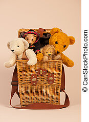 Bears in toy box - Stuffed hand made bears in toy box on...