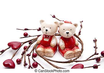 Bears pair of with heart wreath