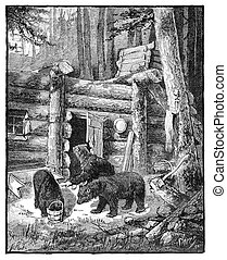 Bears sacking a lumber camp - Black bears sacking a lumber...