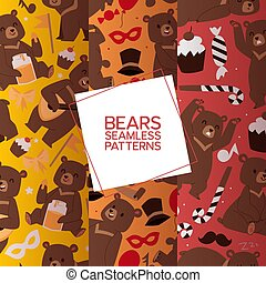 Bears set of seamless pattern vector illustration. Cartoon brown grizzly bear. Teddy in different pose and activities, sitting, frightening, dancing and playing balalaika, eating honey.