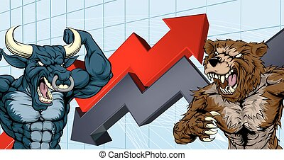 Financial concept of a cartoon bear fighting a bull mascot characters in front of a stock market or profit graph
