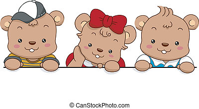 Bears with Blank Board - Illustration of Three Cute Bears...