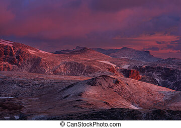 Beautiful landscape of Beartooth Pass. Shoshone National Forest, Wyoming, USA. Sunrise scene.