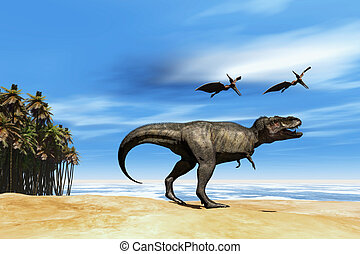 BEAST - Two Pterodactyl flying dinosaurs fly over beastly...