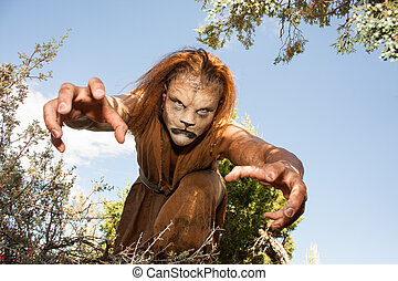 Beast reaching out to grab you. - A human Lion creature...