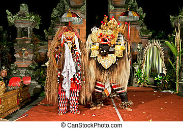 Beasts in Barong and Keris dance performed in Bali,...
