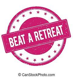 BEAT-A-RETREAT stamp sign text word logo magenta pink.