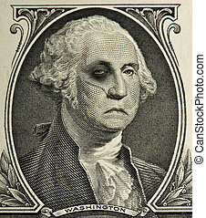 A portrait of George Washington, a little beat up