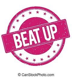 BEAT-UP stamp sign magenta pink