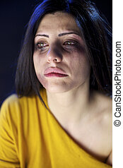 Beaten woman crying desperate - Woman abused crying sad and...