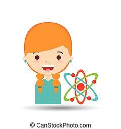 beatiful, girl, chimie, blond, étudiant