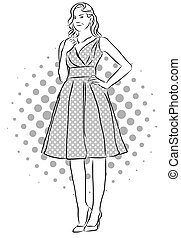 Beatiful Girl Standing in Front of Dotted Background.