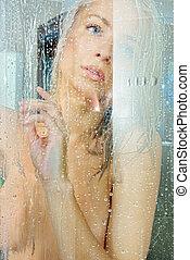 beatiful, loiro, pelada, em, um, shower.