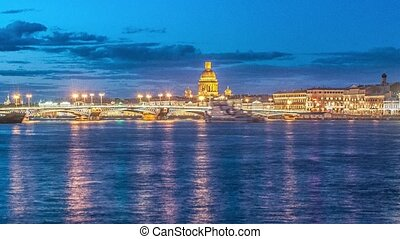 Beatiful night view of the frozen Neva river in Saint Petersburg, Russia