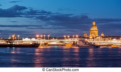 Beatiful night view of the frozen Neva river in Saint...