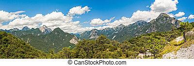 Beatiful panorama of Italian Alps in summer day.