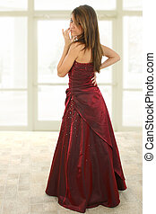 Beatiful Teen in Formal - Teen girl in burgandy formal dress...