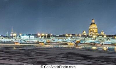 Beatiful view Neva river in Saint Petersburg, Russia