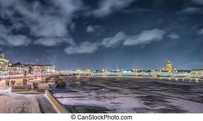 Beatiful view Neva river in Saint Petersburg, Russia -...
