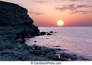 Beatifull sunset on the Crimean seashore