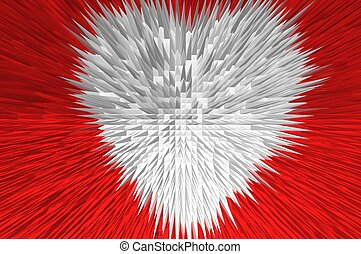 white beating heart with red background