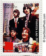beatles, bélyeg, csoport, -, 1960s, híres, 2000, :, nyomtatott, váratlanul, laosz, cirka, zenés, látszik