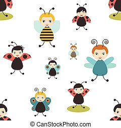 Beatles cartoon seamless pattern. Bee, butterfly, ladybird....