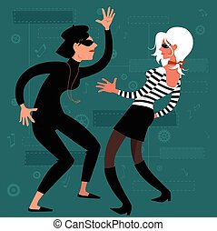 Beatnik girls dancing on early 1960s design background,...
