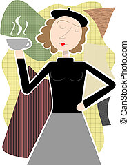 Beatnik woman holding coffee cup ab - Beatnik hippie female...