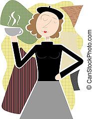 Beatnik woman holding coffee cup ab - Beatnik hippie female...
