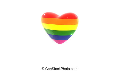 Beats of LGBT Heart colored in rainbow flag