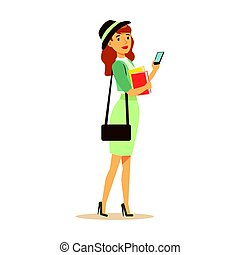 Beatuful student girl in fashionable clothes standing and holding smartphone and books in her hands. Student lifestyle colorful character vector Illustration