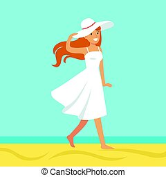 Beatuful woman in a white dress and beach hat against a bright blue sky and sea on a holiday beach