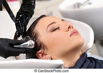 beaty, hairstyle., cabeleireiras, salão