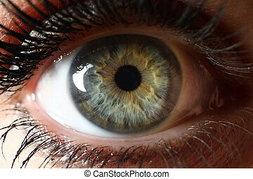 Beaty woman clor eye closeup supermacro background. Laser ...