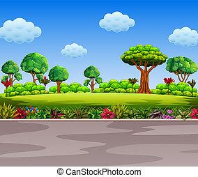 beau, à côté de, jardin, route