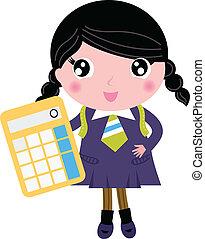 beau, école, calculatrice, isolé, blanc, girl