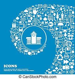 beau, école, ensemble, centre, icônes, tordu, spirale, une, grand, vecteur, professionnel, icon., gentil, icône