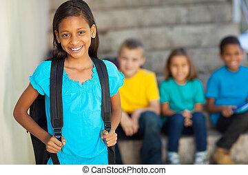 beau, école primaire, girl