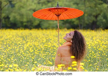 beau, élégant, femme, parapluie, orange