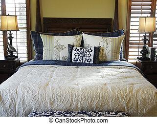 beau, élégant, intérieur, chambre à coucher