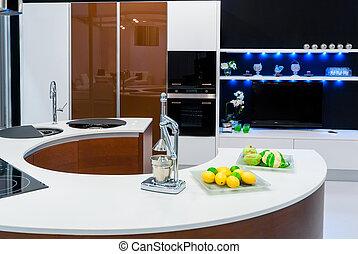 beau, élégant, intérieur, moderne, cuisine