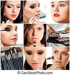 beau, élégant, jeune, make-up., femmes